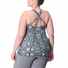Ariel Print Tank - Rainbeau Curves, 14/16 / Black Floral Trellis, activewear, athleisure, fitness, workout, gym, performance, womens, ladies, plus size, curvy, full figured, spandex, cotton, polyester - 3