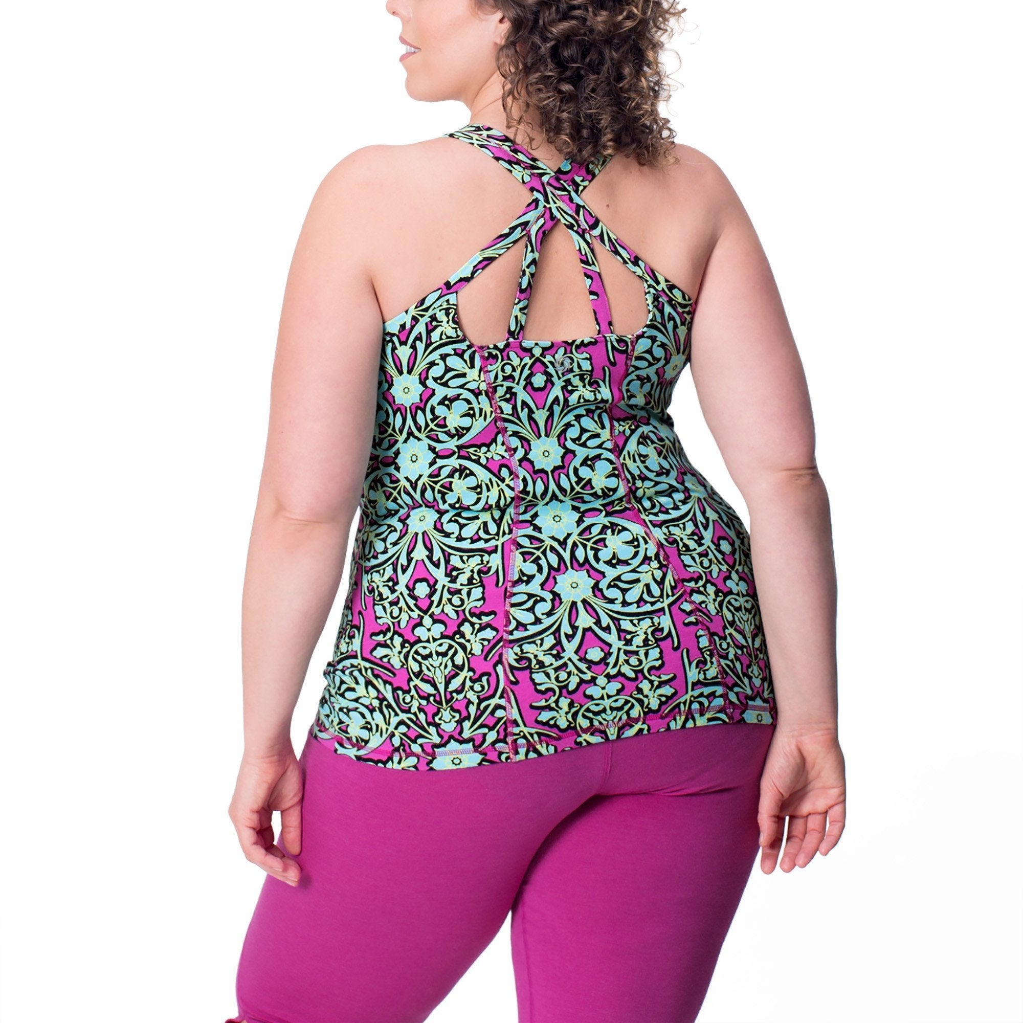 Ariel Print Tank - Rainbeau Curves, 14/16 / Multi Floral Trellis, activewear, athleisure, fitness, workout, gym, performance, womens, ladies, plus size, curvy, full figured, spandex, cotton, polyester - 2