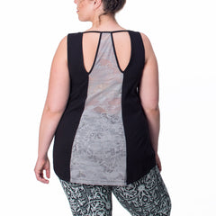 Marie Tank - Rainbeau Curves, 14/16 / Black, activewear, athleisure, fitness, workout, gym, performance, womens, ladies, plus size, curvy, full figured, spandex, cotton, polyester - 3