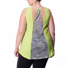 Marie Tank - Rainbeau Curves, 14/16 / Limelight, activewear, athleisure, fitness, workout, gym, performance, womens, ladies, plus size, curvy, full figured, spandex, cotton, polyester - 1