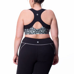 Jenna Print Bra - Rainbeau Curves, 14/16 / Black Floral Trellis, activewear, athleisure, fitness, workout, gym, performance, womens, ladies, plus size, curvy, full figured, spandex, cotton, polyester - 2