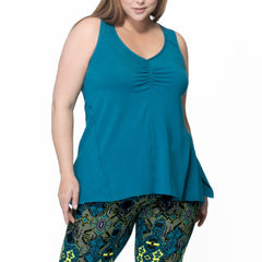 Adele Tank - Rainbeau Curves, 14/16 / Ink Blue, activewear, athleisure, fitness, workout, gym, performance, womens, ladies, plus size, curvy, full figured, spandex, cotton, polyester - 4