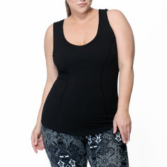 Janis Tank - Rainbeau Curves, 14/16 / Black, activewear, athleisure, fitness, workout, gym, performance, womens, ladies, plus size, curvy, full figured, spandex, cotton, polyester - 5