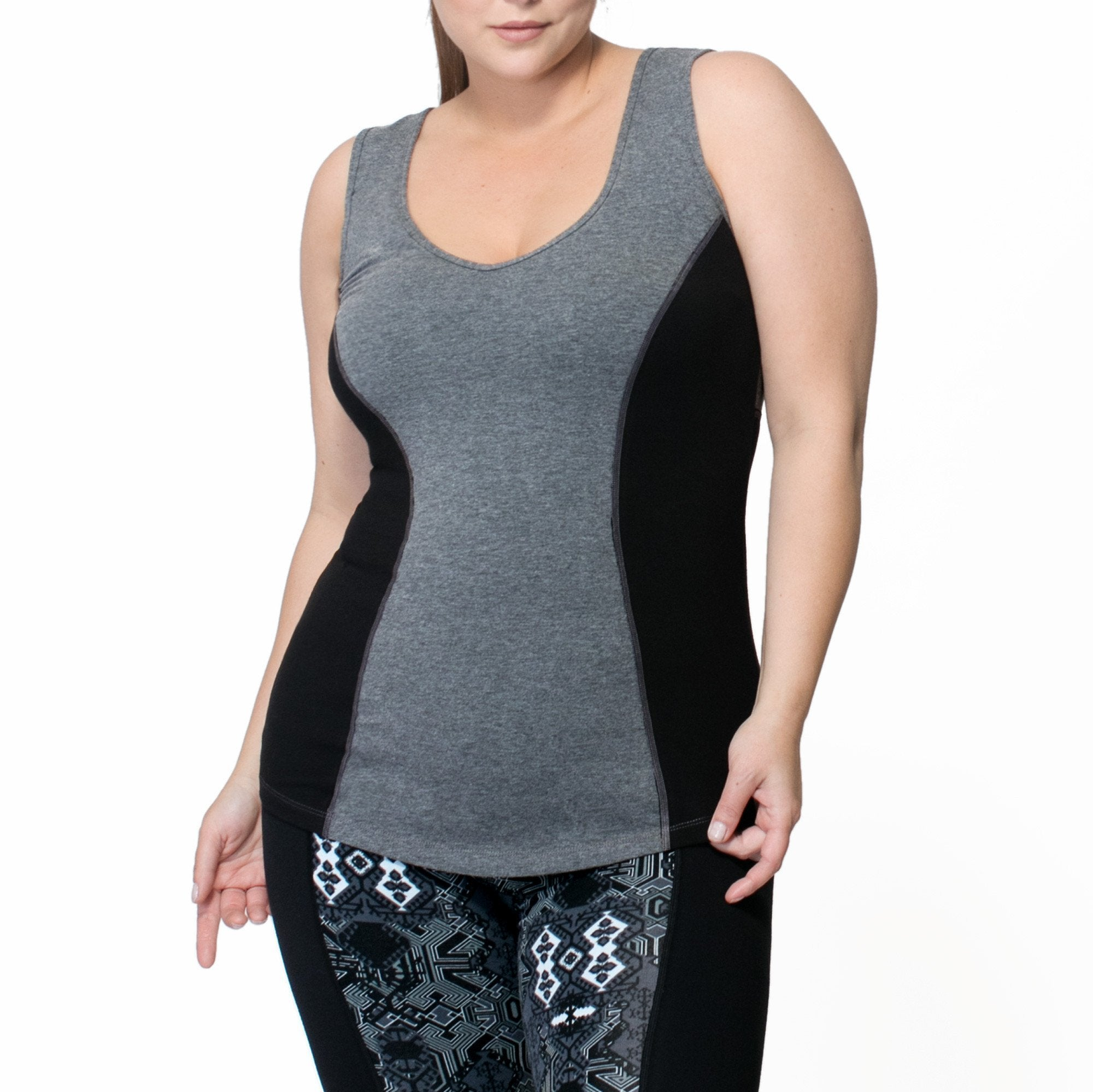 Janis Tank - Rainbeau Curves, 14/16 / Ink Blue, activewear, athleisure, fitness, workout, gym, performance, womens, ladies, plus size, curvy, full figured, spandex, cotton, polyester - 1