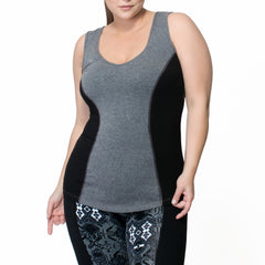 Janis Tank - Rainbeau Curves, 14/16 / Charcoal, activewear, athleisure, fitness, workout, gym, performance, womens, ladies, plus size, curvy, full figured, spandex, cotton, polyester - 3