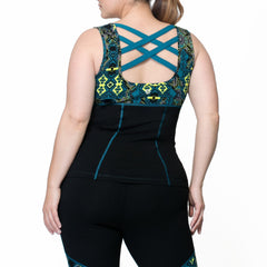 Janis Print Tank - Rainbeau Curves, , activewear, athleisure, fitness, workout, gym, performance, womens, ladies, plus size, curvy, full figured, spandex, cotton, polyester - 2