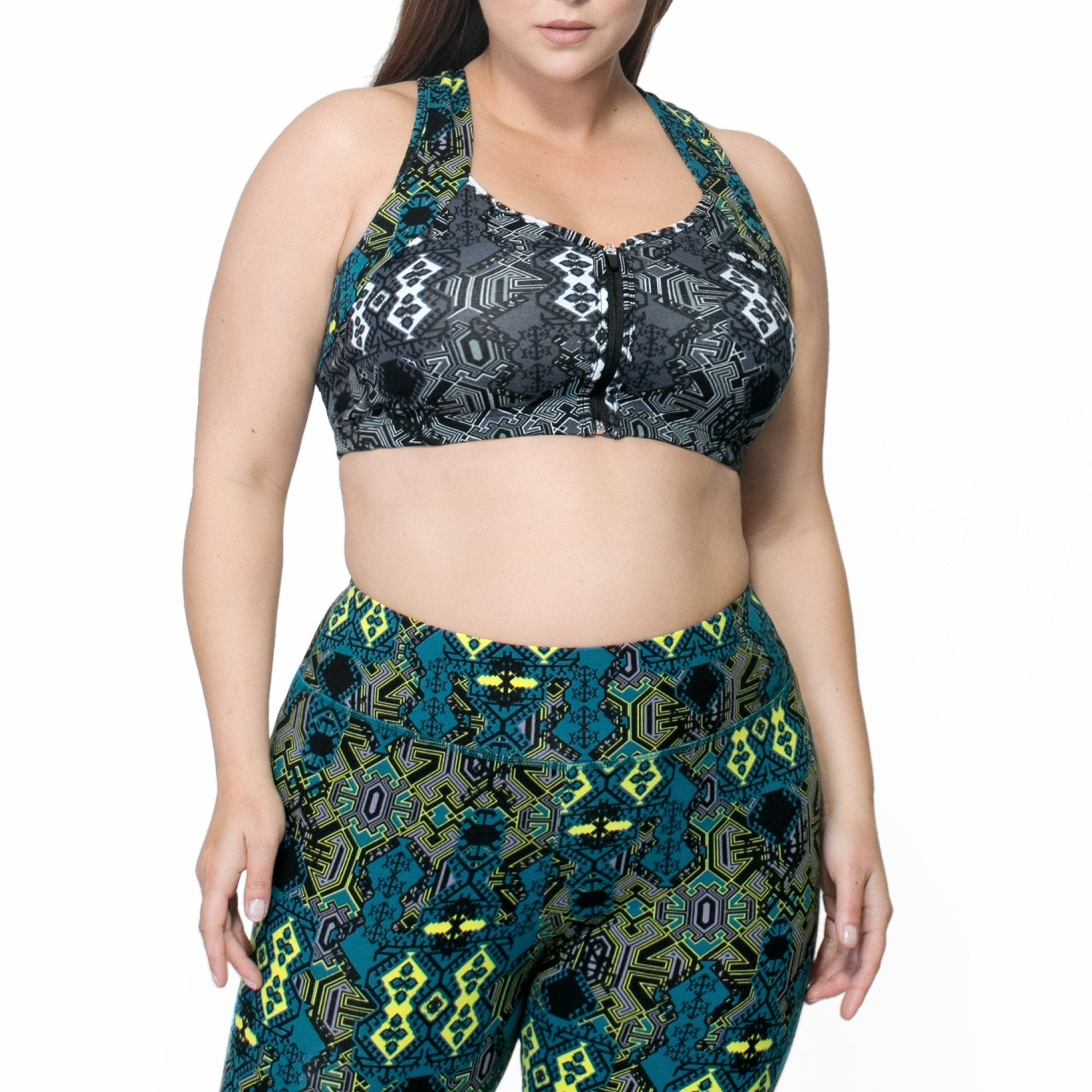 Bette Mix Print Bra - Rainbeau Curves, 14/16 / Multi Moroccan Mystic, activewear, athleisure, fitness, workout, gym, performance, womens, ladies, plus size, curvy, full figured, spandex, cotton, polyester - 1