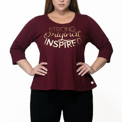"Cyndi ""I AM"" Tee - Rainbeau Curves, 14/16 / Elderberry, activewear, athleisure, fitness, workout, gym, performance, womens, ladies, plus size, curvy, full figured, spandex, cotton, polyester - 1"