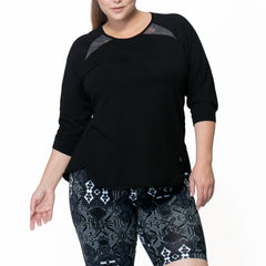 Janelle Pullover - Rainbeau Curves, 14/16 / Black, activewear, athleisure, fitness, workout, gym, performance, womens, ladies, plus size, curvy, full figured, spandex, cotton, polyester - 3