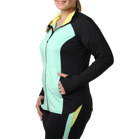 Daria Jacket - Rainbeau Curves, 14/16 / Blue Skies, activewear, athleisure, fitness, workout, gym, performance, womens, ladies, plus size, curvy, full figured, spandex, cotton, polyester - 1