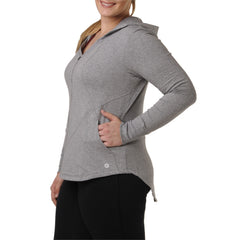Charlotte Zip Hoodie - Rainbeau Curves, 14/16 / Heather Grey, activewear, athleisure, fitness, workout, gym, performance, womens, ladies, plus size, curvy, full figured, spandex, cotton, polyester - 1