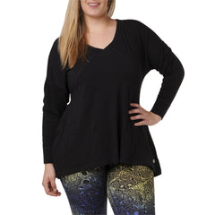 Adrianna Sweatshirt - Rainbeau Curves, 14/16 / Black, activewear, athleisure, fitness, workout, gym, performance, womens, ladies, plus size, curvy, full figured, spandex, cotton, polyester - 1