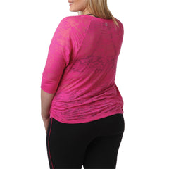 Madelynn Top - Rainbeau Curves, 18/20 / Passion Pink, activewear, athleisure, fitness, workout, gym, performance, womens, ladies, plus size, curvy, full figured, spandex, cotton, polyester - 4