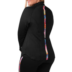 Daria Print Jacket - Rainbeau Curves, , activewear, athleisure, fitness, workout, gym, performance, womens, ladies, plus size, curvy, full figured, spandex, cotton, polyester - 3