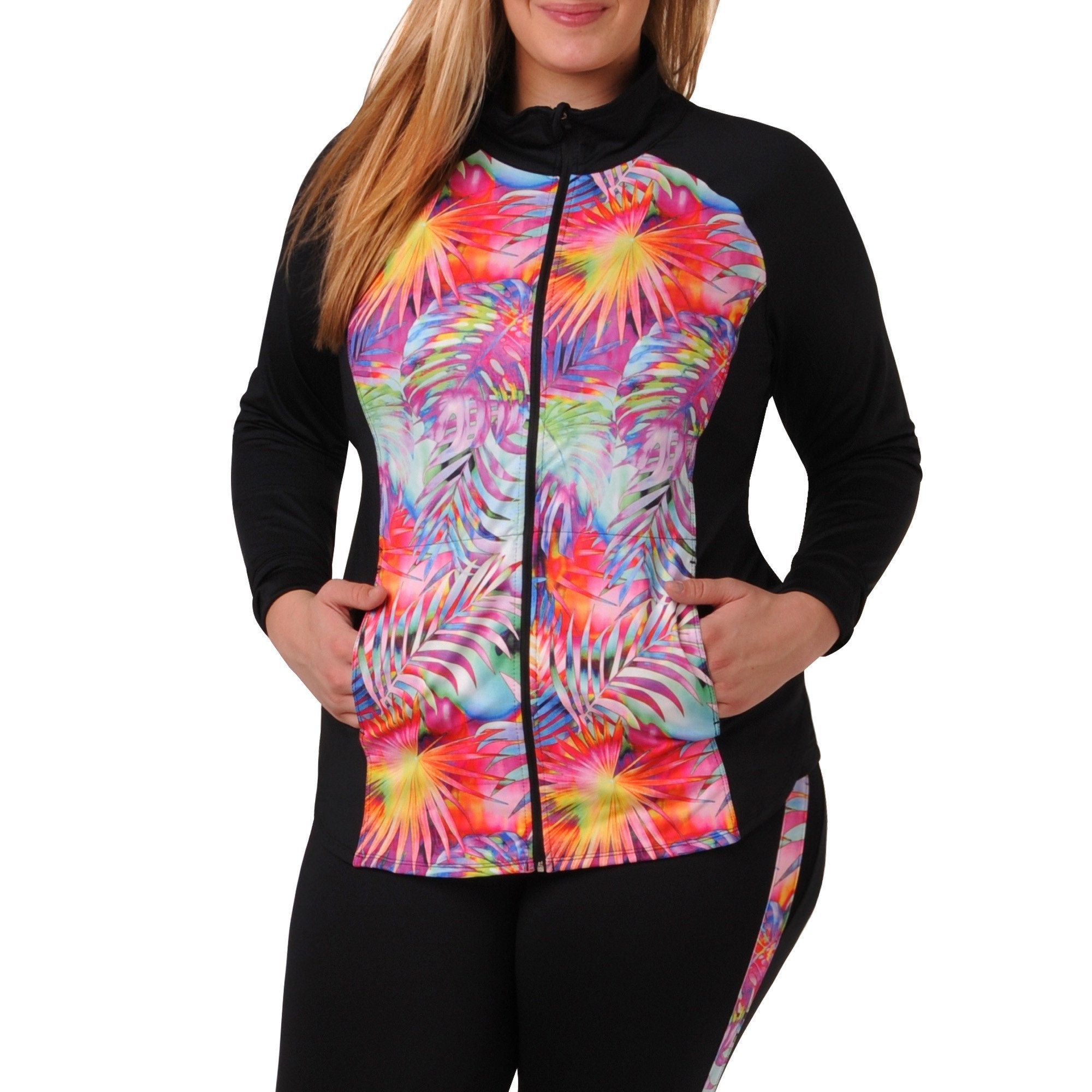 Daria Print Jacket - Rainbeau Curves, 14/16 / Tropical Print, activewear, athleisure, fitness, workout, gym, performance, womens, ladies, plus size, curvy, full figured, spandex, cotton, polyester - 1