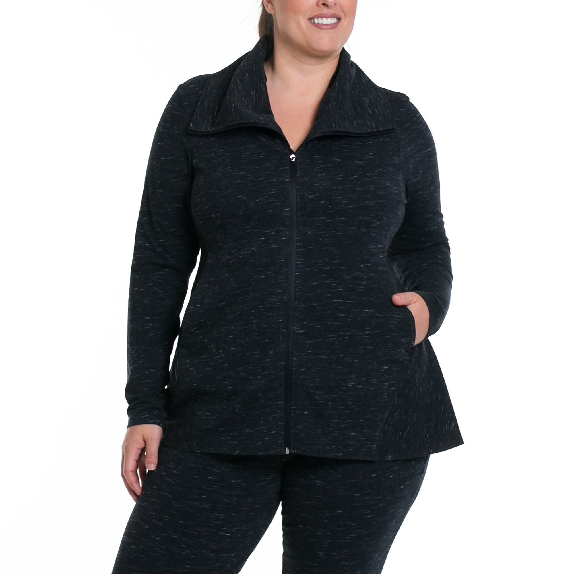 Jamie Jacket - Rainbeau Curves, 14/16 / Marled Black, activewear, athleisure, fitness, workout, gym, performance, womens, ladies, plus size, curvy, full figured, spandex, cotton, polyester - 1