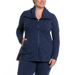 Jamie Jacket - Rainbeau Curves, 14/16 / Marled Midnight, activewear, athleisure, fitness, workout, gym, performance, womens, ladies, plus size, curvy, full figured, spandex, cotton, polyester - 3