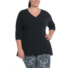 Cathy Pullover - Rainbeau Curves, 14/16 / Black, activewear, athleisure, fitness, workout, gym, performance, womens, ladies, plus size, curvy, full figured, spandex, cotton, polyester - 1