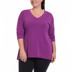 Cathy Pullover - Rainbeau Curves, 14/16 / Plum, activewear, athleisure, fitness, workout, gym, performance, womens, ladies, plus size, curvy, full figured, spandex, cotton, polyester - 4