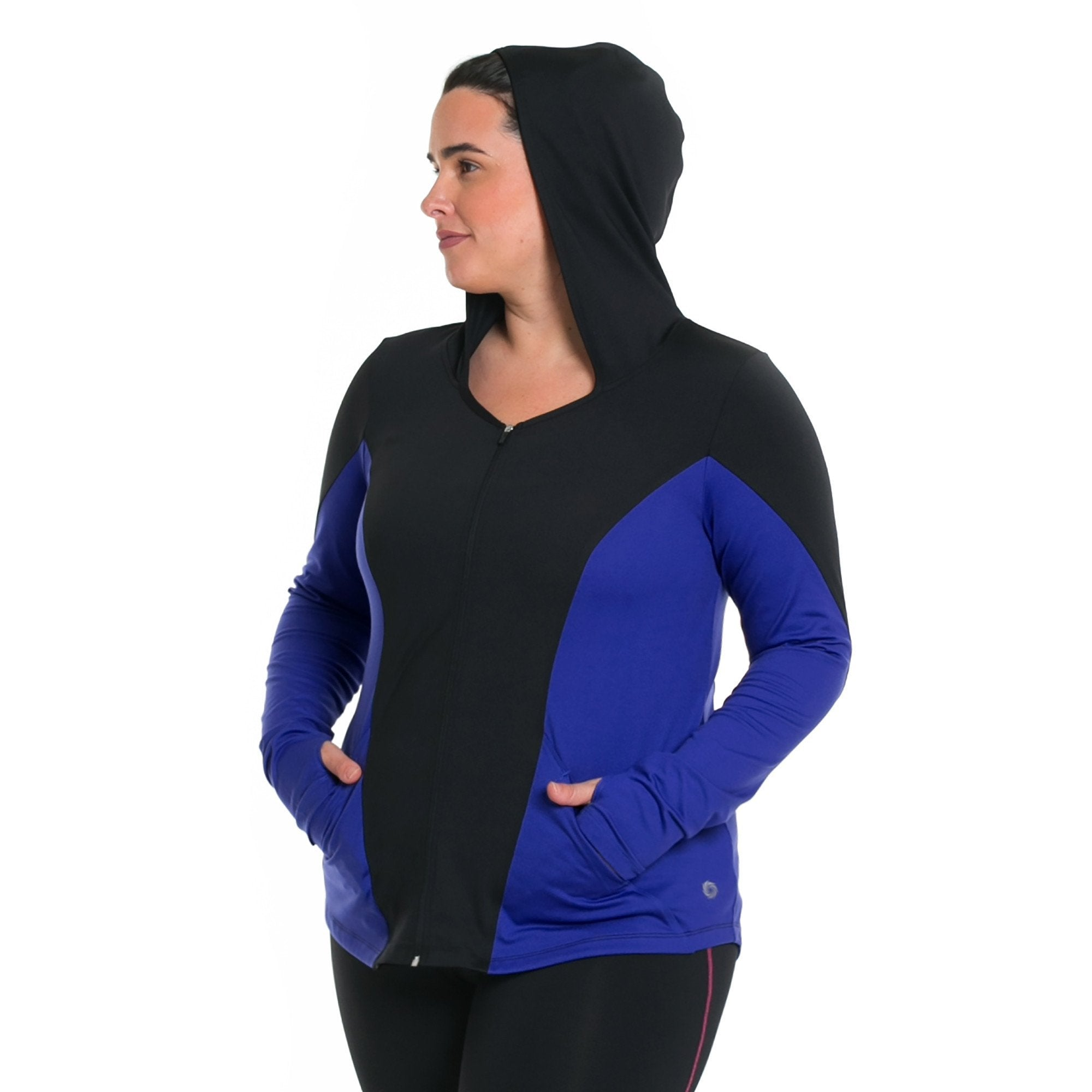 Xela Jacket - Rainbeau Curves, 14/16 / Cobalt, activewear, athleisure, fitness, workout, gym, performance, womens, ladies, plus size, curvy, full figured, spandex, cotton, polyester - 1