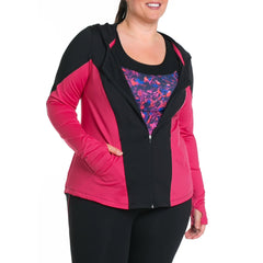 Xela Jacket - Rainbeau Curves, 14/16 / Pink Posey, activewear, athleisure, fitness, workout, gym, performance, womens, ladies, plus size, curvy, full figured, spandex, cotton, polyester - 2