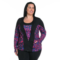 Xela Print Jacket - Rainbeau Curves, , activewear, athleisure, fitness, workout, gym, performance, womens, ladies, plus size, curvy, full figured, spandex, cotton, polyester - 2