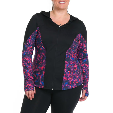 Xela Print Jacket - Rainbeau Curves, 14/16 / Winter Garden, activewear, athleisure, fitness, workout, gym, performance, womens, ladies, plus size, curvy, full figured, spandex, cotton, polyester - 1
