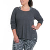 Emilia Long Sleeve - Rainbeau Curves, 14/16 / Dark Heather Grey, activewear, athleisure, fitness, workout, gym, performance, womens, ladies, plus size, curvy, full figured, spandex, cotton, polyester - 3