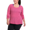 Emilia Long Sleeve - Rainbeau Curves, 14/16 / Pink Posey, activewear, athleisure, fitness, workout, gym, performance, womens, ladies, plus size, curvy, full figured, spandex, cotton, polyester - 4