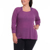 Emilia Long Sleeve - Rainbeau Curves, 14/16 / Plum, activewear, athleisure, fitness, workout, gym, performance, womens, ladies, plus size, curvy, full figured, spandex, cotton, polyester - 2