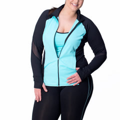 Angela Zip-Up Jacket - Rainbeau Curves, 14/16 / Clear Skies, activewear, athleisure, fitness, workout, gym, performance, womens, ladies, plus size, curvy, full figured, spandex, cotton, polyester - 1