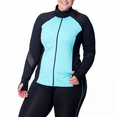 Angela Zip-Up Jacket - Rainbeau Curves, , activewear, athleisure, fitness, workout, gym, performance, womens, ladies, plus size, curvy, full figured, spandex, cotton, polyester - 4