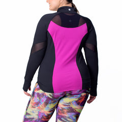 Angela Zip-Up Jacket - Rainbeau Curves, 14/16 / Wild Orchid, activewear, athleisure, fitness, workout, gym, performance, womens, ladies, plus size, curvy, full figured, spandex, cotton, polyester - 3