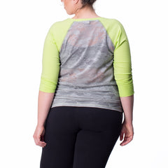 Elaine Tee - Rainbeau Curves, 14/16 / Limelight, activewear, athleisure, fitness, workout, gym, performance, womens, ladies, plus size, curvy, full figured, spandex, cotton, polyester - 3