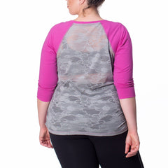 Elaine Tee - Rainbeau Curves, 14/16 / Wild Orchid, activewear, athleisure, fitness, workout, gym, performance, womens, ladies, plus size, curvy, full figured, spandex, cotton, polyester - 4