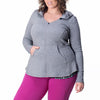 Hayley Hoodie - Rainbeau Curves, 14/16 / Charcoal Grey Heather, activewear, athleisure, fitness, workout, gym, performance, womens, ladies, plus size, curvy, full figured, spandex, cotton, polyester - 4