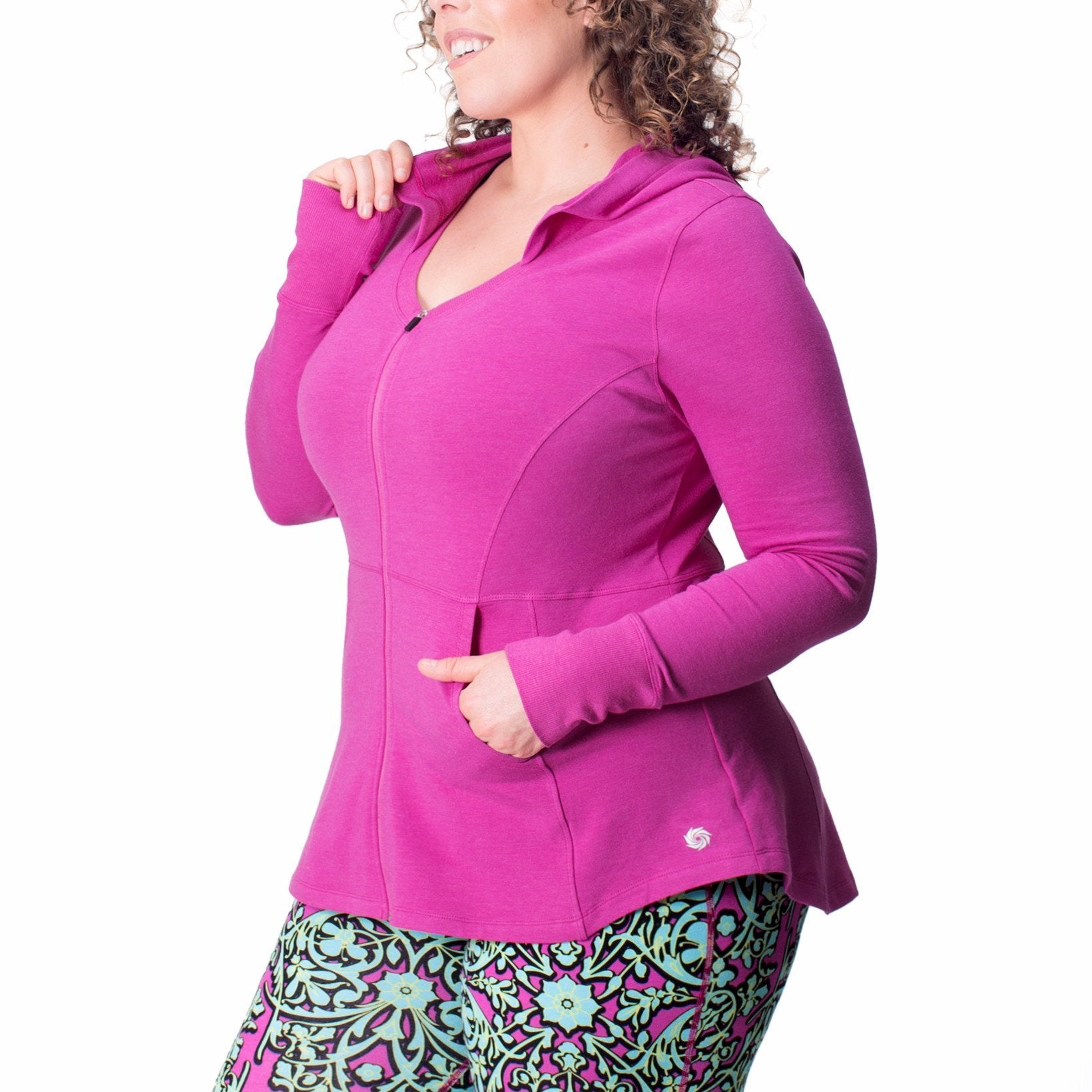 Hayley Hoodie - Rainbeau Curves, 14/16 / Wild Orchid Heather, activewear, athleisure, fitness, workout, gym, performance, womens, ladies, plus size, curvy, full figured, spandex, cotton, polyester - 1