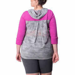 Kathleen Pullover - Rainbeau Curves, 14/16 / Wild Orchid, activewear, athleisure, fitness, workout, gym, performance, womens, ladies, plus size, curvy, full figured, spandex, cotton, polyester - 1