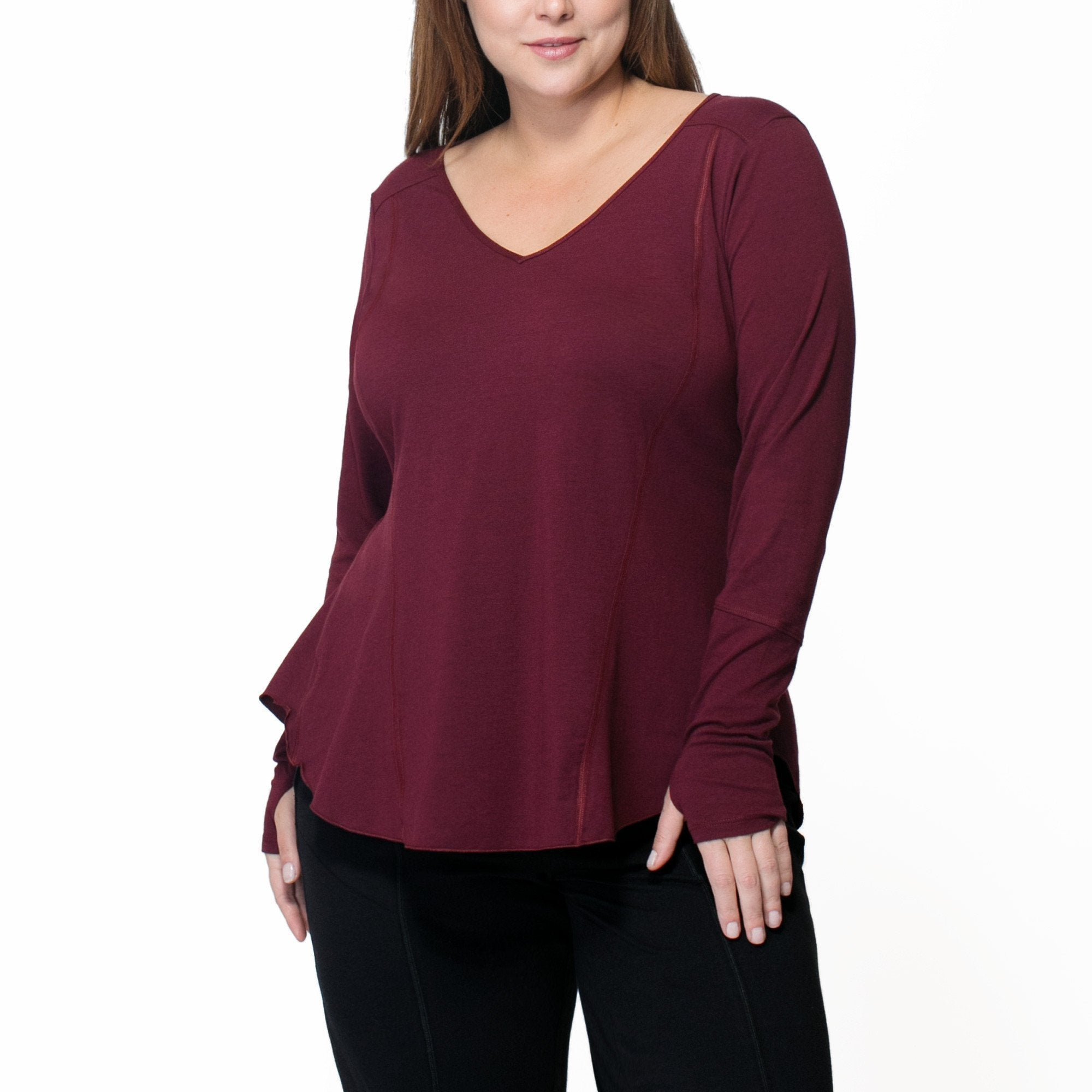 Fiona Long Sleeve - Rainbeau Curves, 14/16 / Elderberry, activewear, athleisure, fitness, workout, gym, performance, womens, ladies, plus size, curvy, full figured, spandex, cotton, polyester - 1