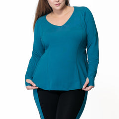 Fiona Long Sleeve - Rainbeau Curves, 14/16 / Ink Blue, activewear, athleisure, fitness, workout, gym, performance, womens, ladies, plus size, curvy, full figured, spandex, cotton, polyester - 4