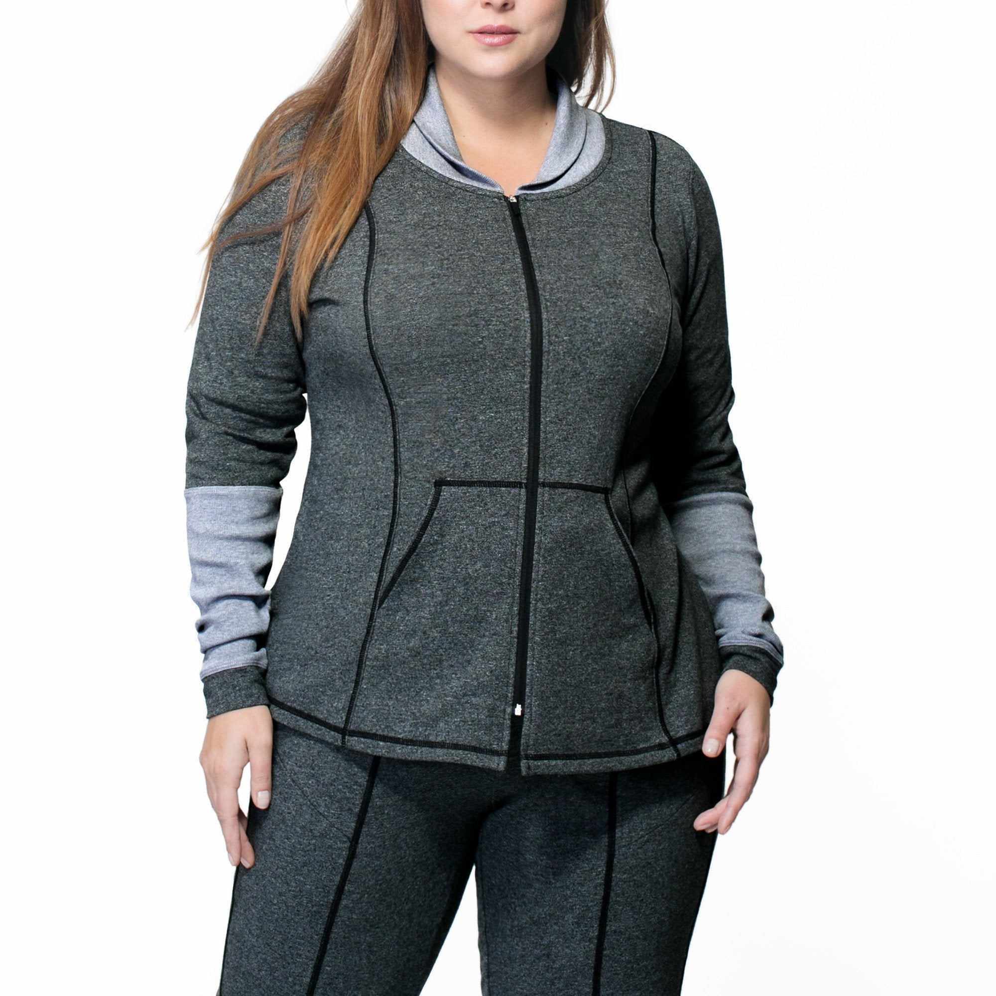 Ella Zip-Up - Rainbeau Curves, 14/16 / Charcoal Heather, activewear, athleisure, fitness, workout, gym, performance, womens, ladies, plus size, curvy, full figured, spandex, cotton, polyester - 1