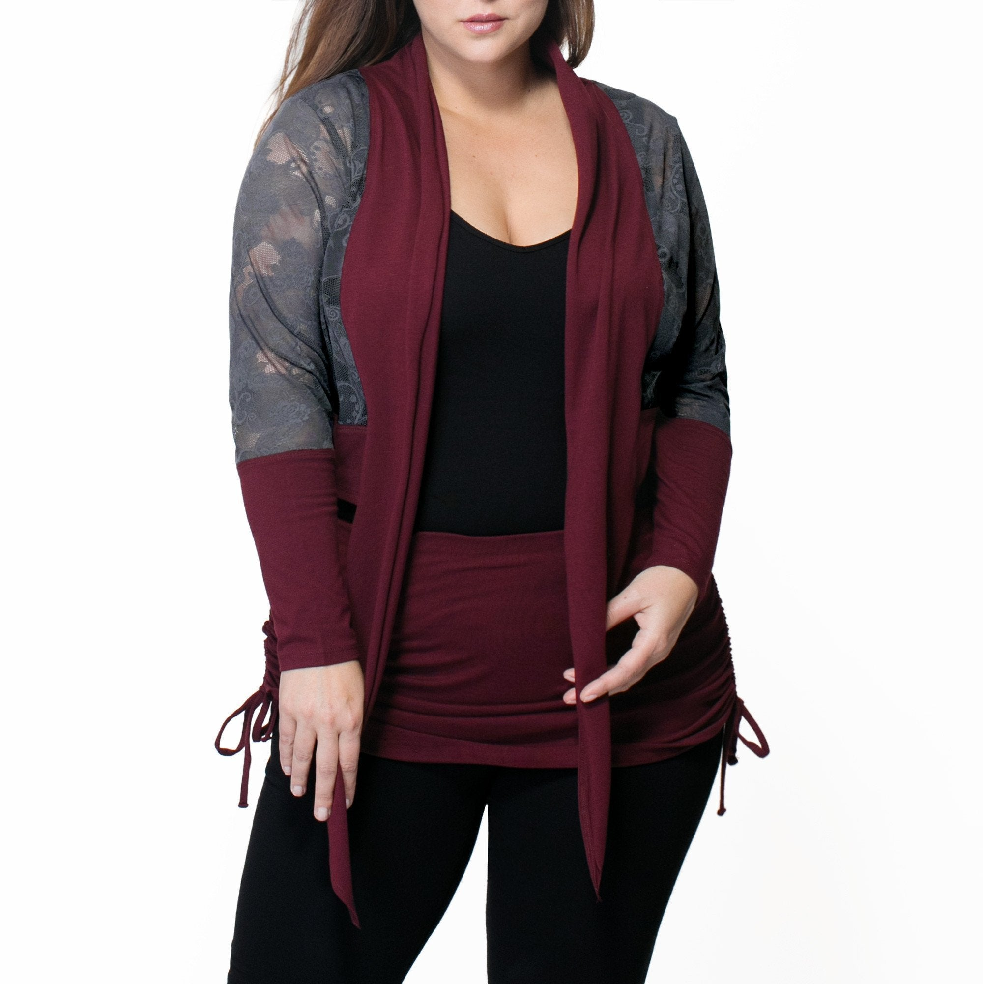 Whitney Bolero Cardigan - Rainbeau Curves, 14/16 / Black, activewear, athleisure, fitness, workout, gym, performance, womens, ladies, plus size, curvy, full figured, spandex, cotton, polyester - 1