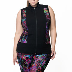 Carrie Print Zip Vest - Rainbeau Curves, , activewear, athleisure, fitness, workout, gym, performance, womens, ladies, plus size, curvy, full figured, spandex, cotton, polyester - 2