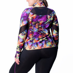 Angela Print Zip-Up Jacket - Rainbeau Curves, , activewear, athleisure, fitness, workout, gym, performance, womens, ladies, plus size, curvy, full figured, spandex, cotton, polyester - 2