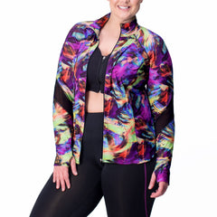Angela Print Zip-Up Jacket - Rainbeau Curves, , activewear, athleisure, fitness, workout, gym, performance, womens, ladies, plus size, curvy, full figured, spandex, cotton, polyester - 3