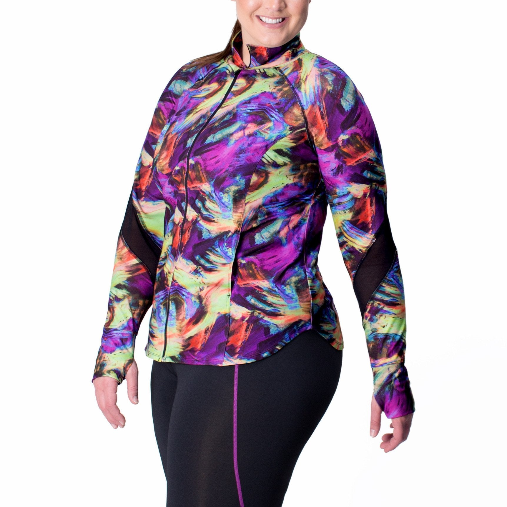 Angela Print Zip-Up Jacket - Rainbeau Curves, 14/16 / Swift Strokes, activewear, athleisure, fitness, workout, gym, performance, womens, ladies, plus size, curvy, full figured, spandex, cotton, polyester - 1