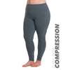 Curve Basix Compression Legging - Rainbeau Curves, 14/16 / Charcoal, activewear, athleisure, fitness, workout, gym, performance, womens, ladies, plus size, curvy, full figured, spandex, cotton, polyester - 1