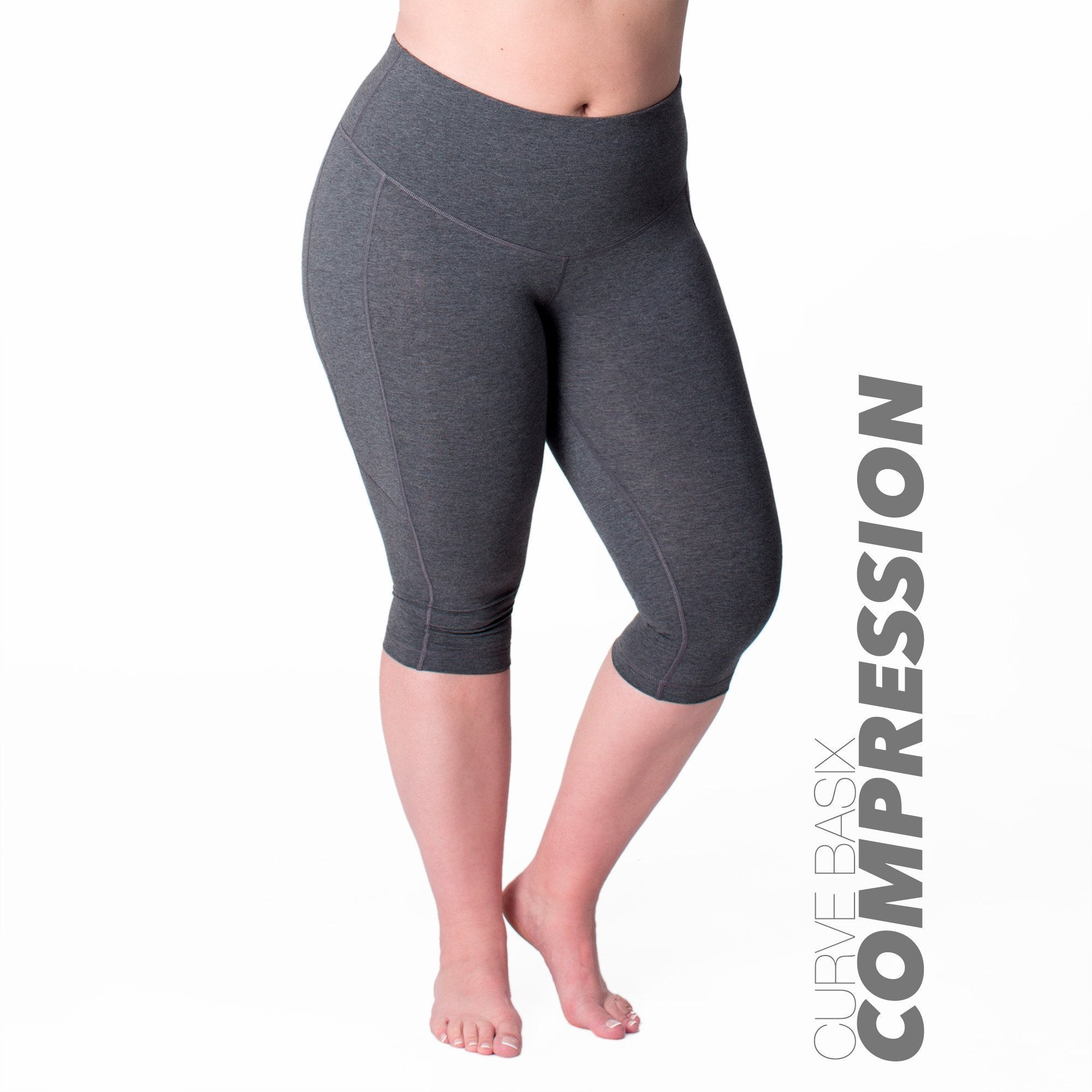 Curve Basix Compression Capri - Rainbeau Curves, 14/16 / Charcoal, activewear, athleisure, fitness, workout, gym, performance, womens, ladies, plus size, curvy, full figured, spandex, cotton, polyester - 1