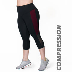Clara Compression Capri - Rainbeau Curves, 14/16 / Elderberry, activewear, athleisure, fitness, workout, gym, performance, womens, ladies, plus size, curvy, full figured, spandex, cotton, polyester - 1