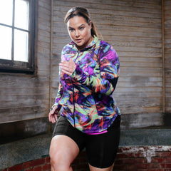 Angela Print Zip-Up Jacket - Rainbeau Curves